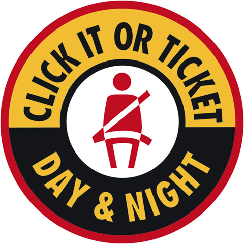 circle graphic with text: click it or ticket day and night
