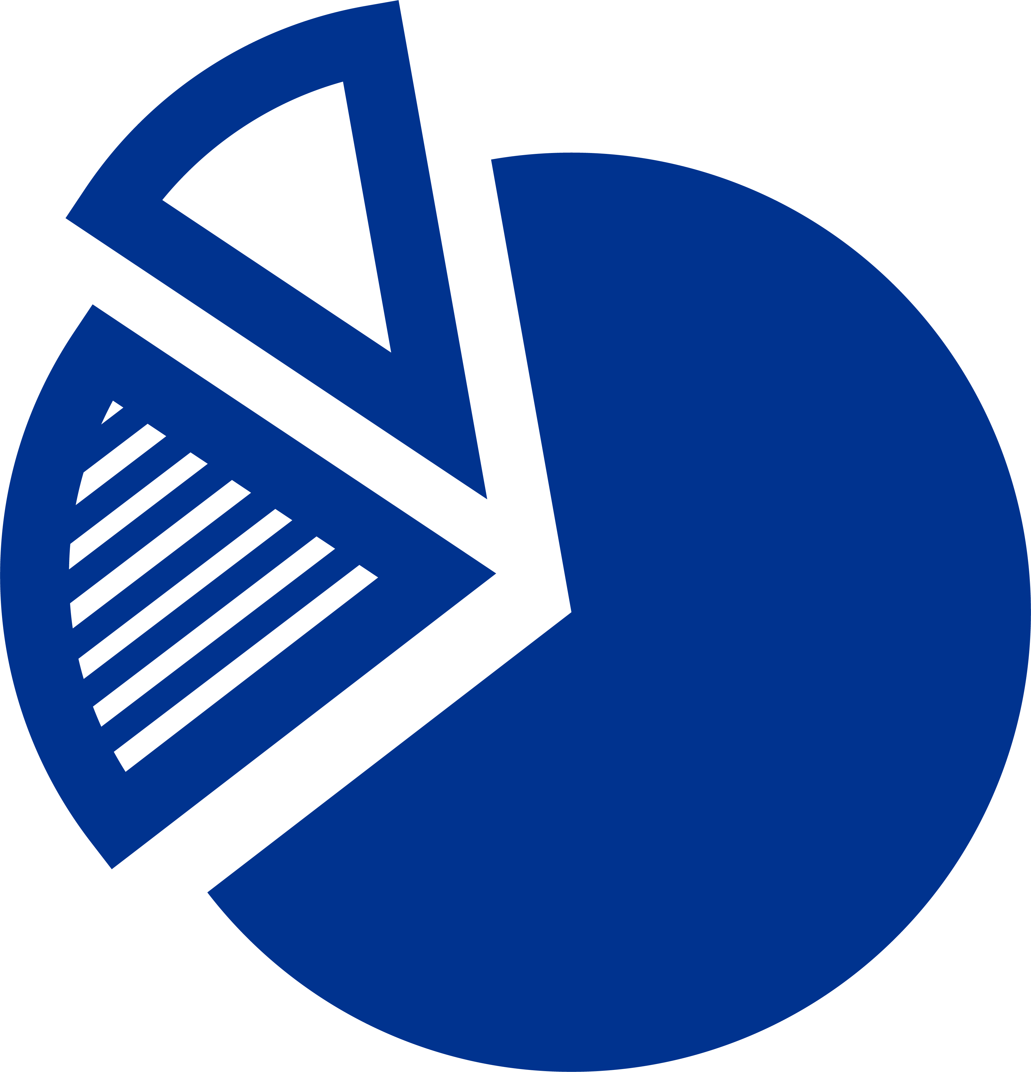 blue icon pie chart with two separated wedges