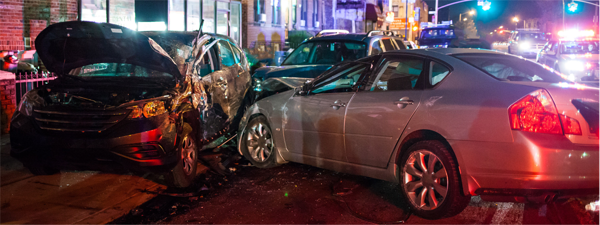 three cars that crashed into each other