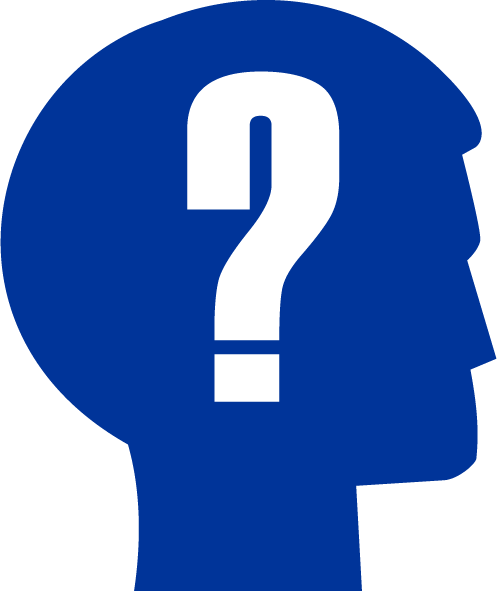 blue head silhouette with a question mark in the center