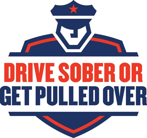 graphic with text: drive sober or get pulled over