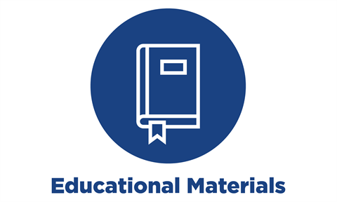 blue circle icon with text: educational materials