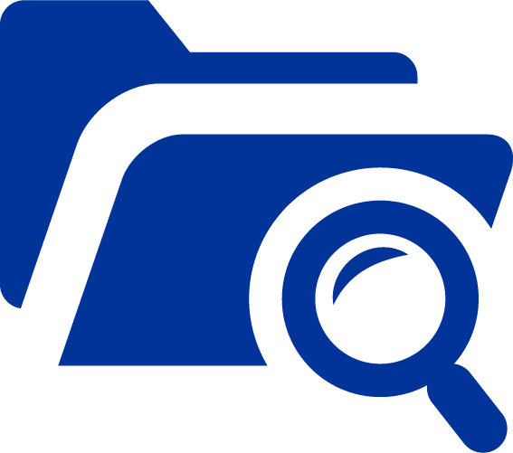 blue file folder and magnifying glass icon