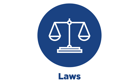 blue circle icon with text: laws