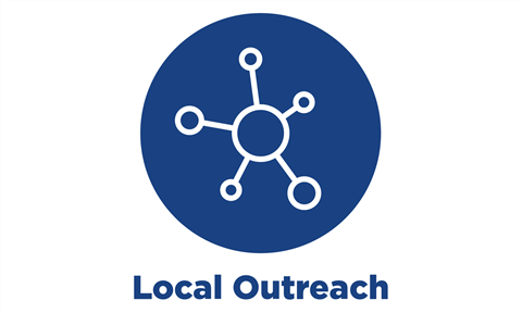 blue circle icon with text: local outreach