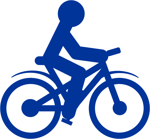 blue icon of a person riding a bicycle
