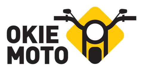 simple logo with text: okie moto