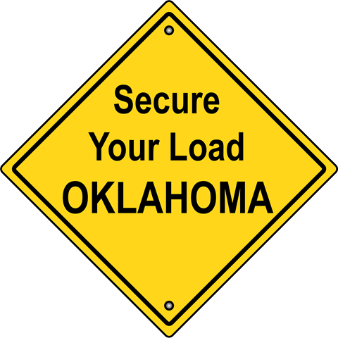yellow diamond shaped sign with text: secure your load oklahoma