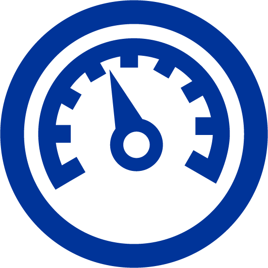 blue icon of a speedometer