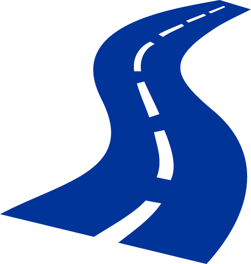 blue icon of a road winding into the distance